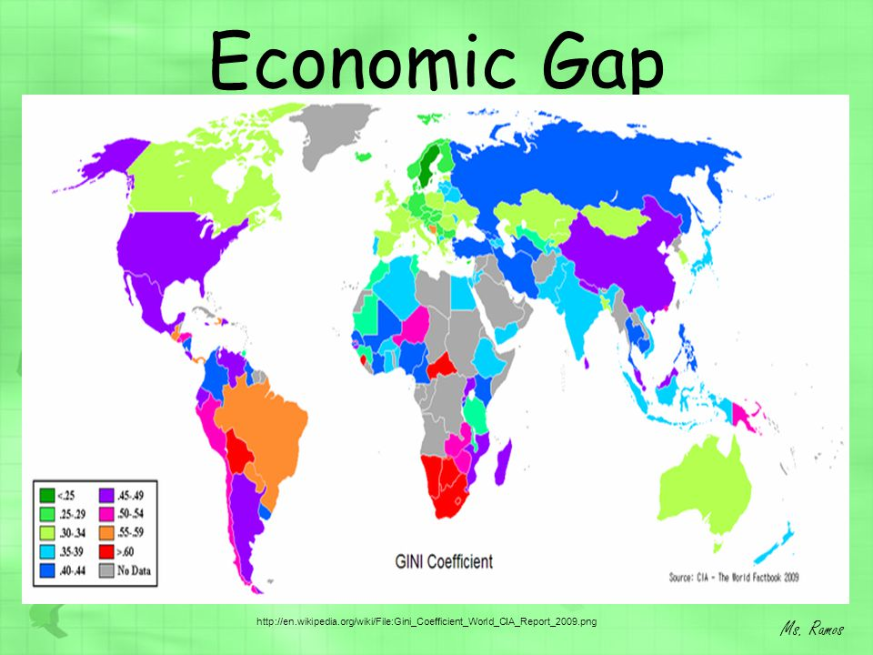 Economic Gap Ms. Ramos http://en.wikipedia.org/wiki/File:Gini_Coefficient_World_CIA_Report_2009.png