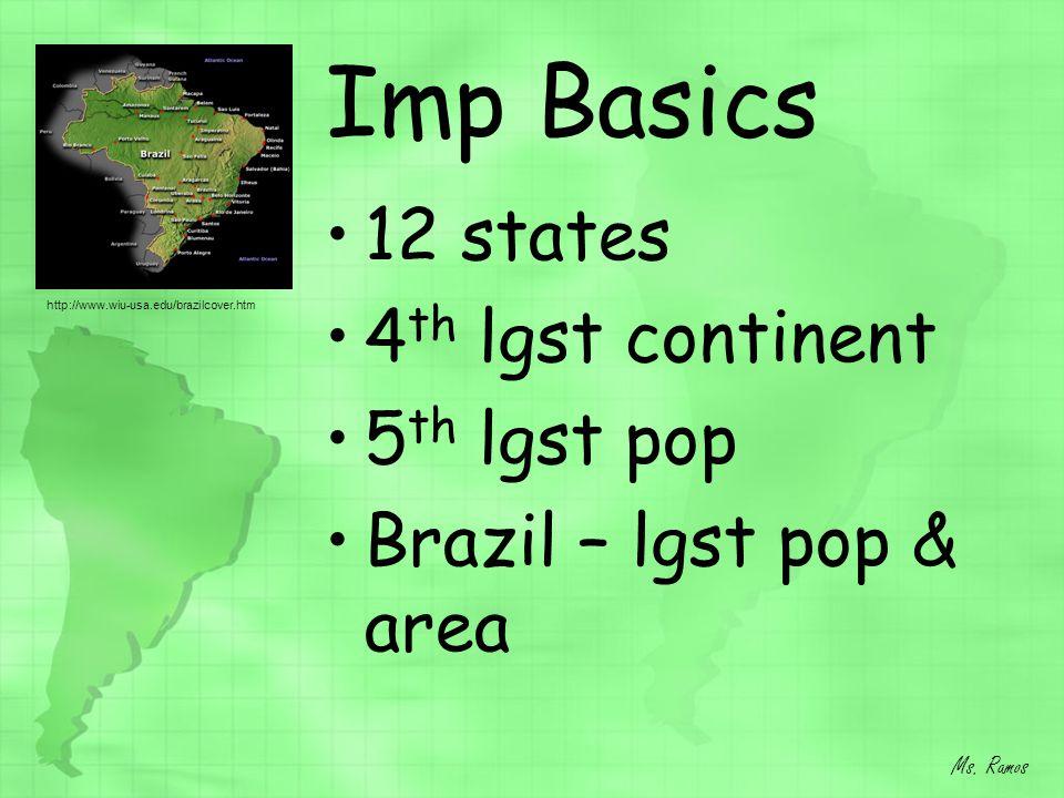 Imp Basics 12 states 4 th lgst continent 5 th lgst pop Brazil – lgst pop & area Ms. Ramos http://www.wiu-usa.edu/brazilcover.htm