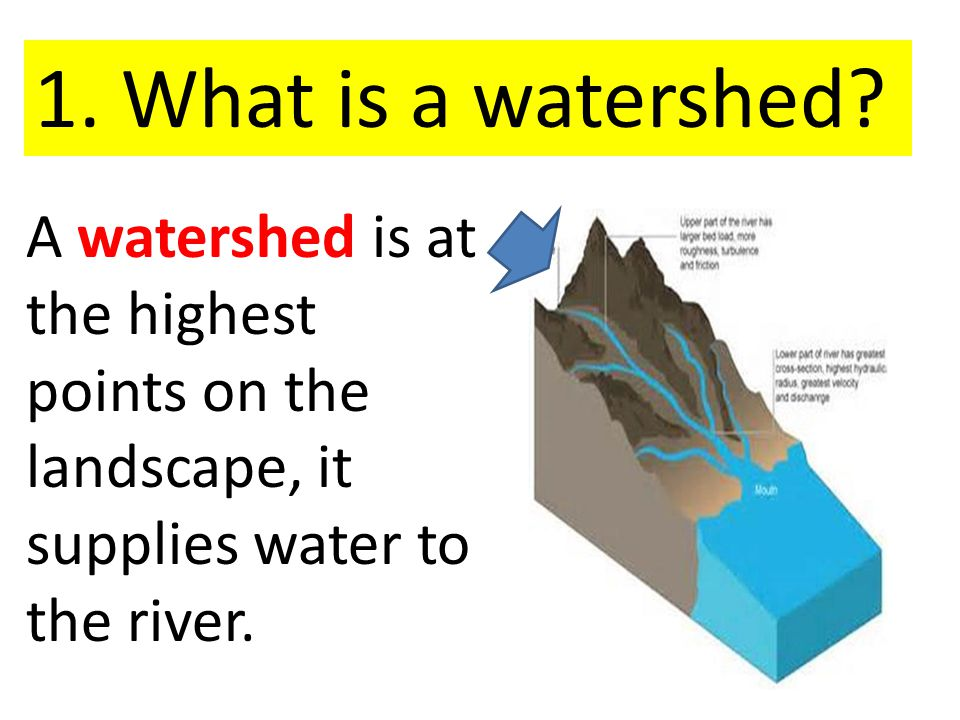 A watershed is at the highest points on the landscape, it supplies water to the river.