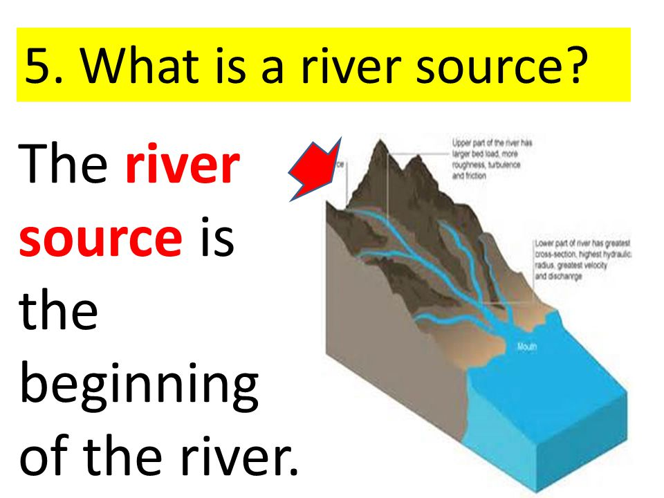 The river source is the beginning of the river. 5. What is a river source