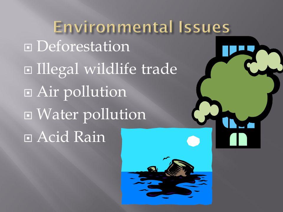  Deforestation  Illegal wildlife trade  Air pollution  Water pollution  Acid Rain