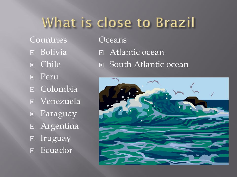 Oceans  Atlantic ocean  South Atlantic ocean Countries  Bolivia  Chile  Peru  Colombia  Venezuela  Paraguay  Argentina  Iruguay  Ecuador
