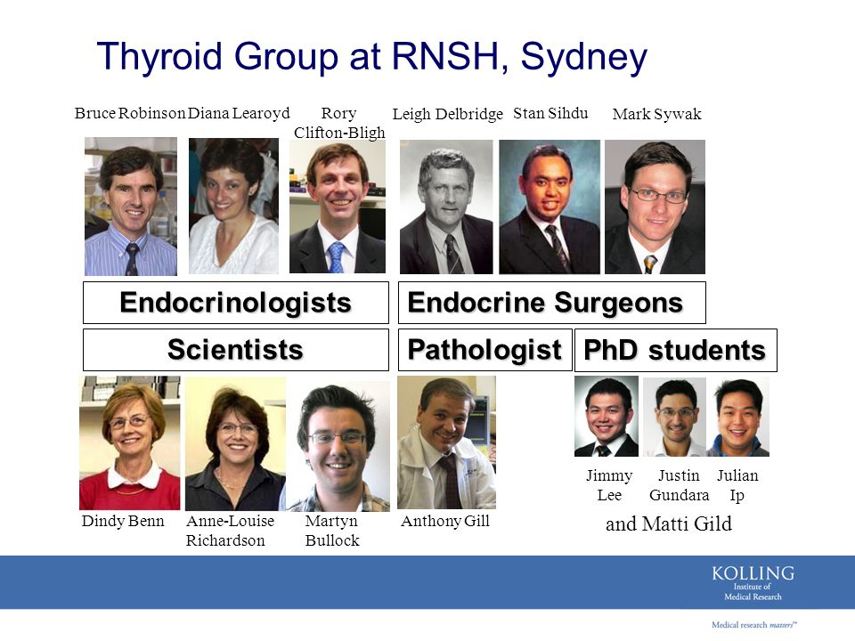 Thyroid Group at RNSH, Sydney Endocrine Surgeons Endocrinologists PathologistScientists Bruce RobinsonStan Sihdu Mark Sywak Diana Learoyd Dindy BennAn