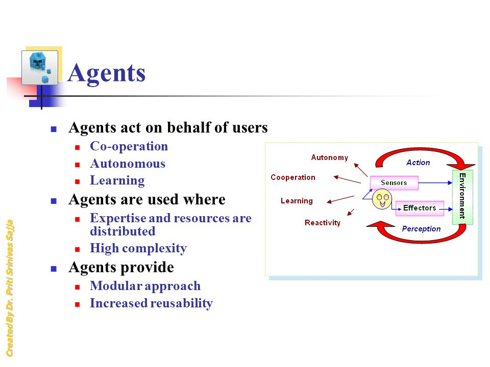 Created By Dr. Priti Srinivas Sajja Agents Agents act on behalf of users Co-operation Autonomous Learning Agents are used where Expertise and resource