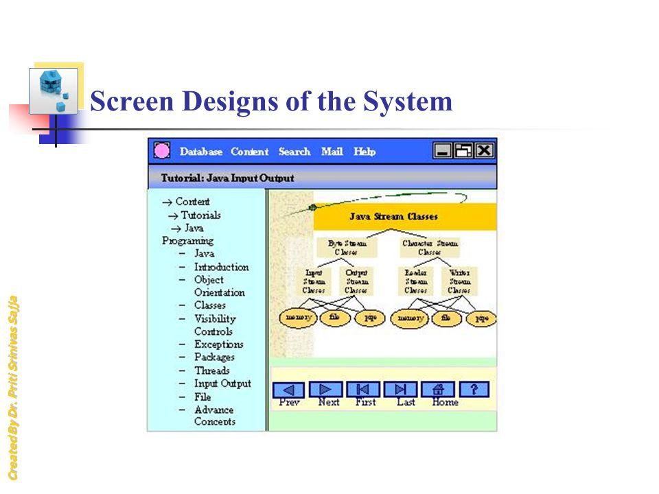 Created By Dr. Priti Srinivas Sajja Screen Designs of the System