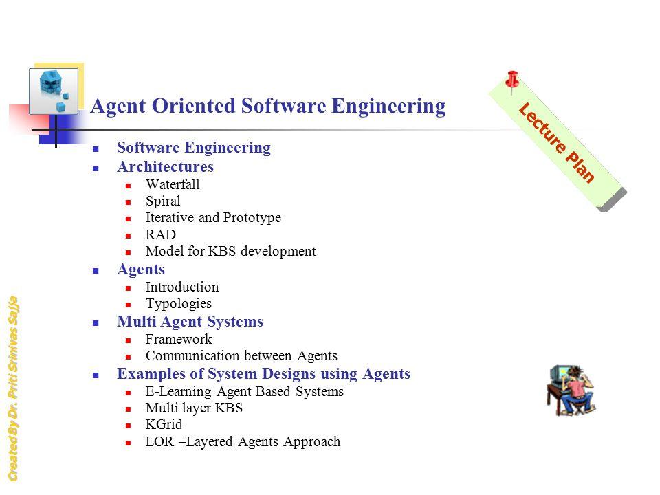 Created By Dr. Priti Srinivas Sajja Agent Oriented Software Engineering Software Engineering Architectures Waterfall Spiral Iterative and Prototype RA