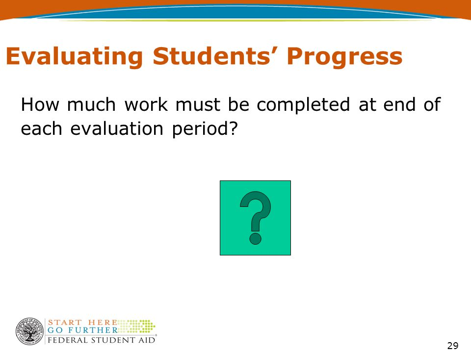 29 Evaluating Students' Progress How much work must be completed at end of each evaluation period