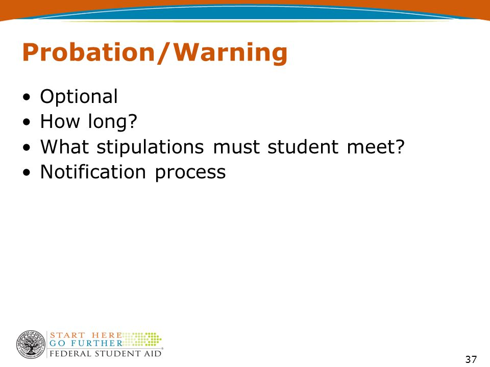37 Probation/Warning Optional How long What stipulations must student meet Notification process