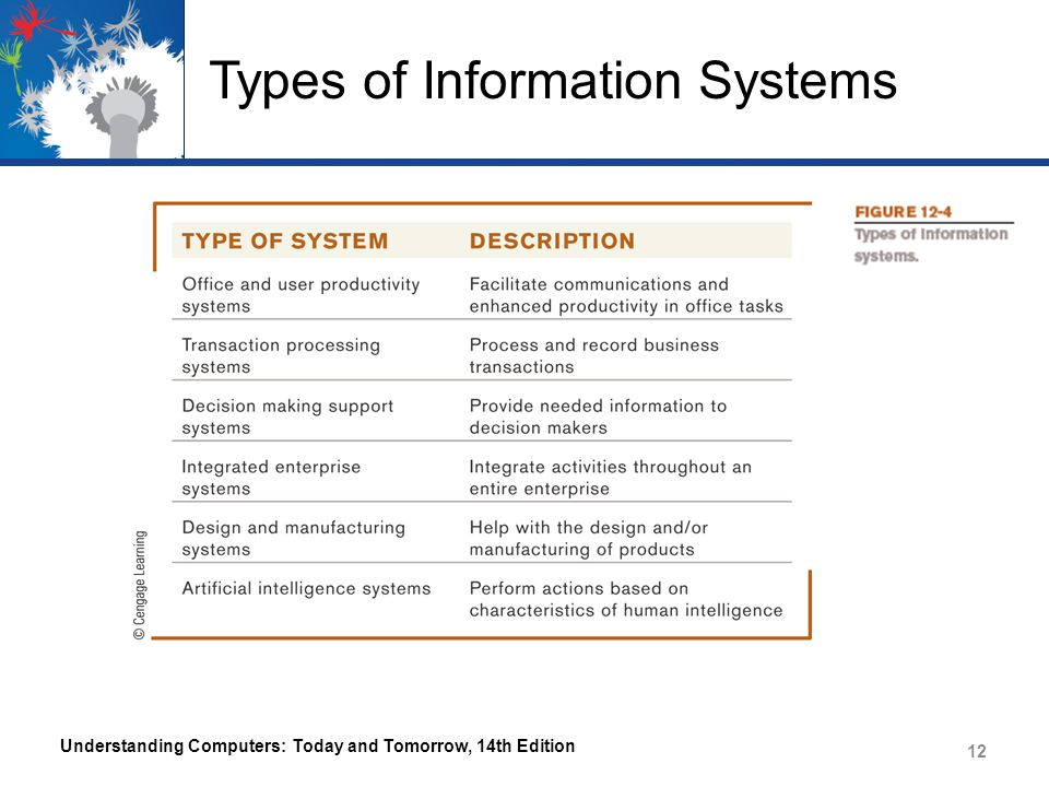 Types of Information Systems Office and User Productivity Support Systems – A system used to facilitate communications and enhance productivity – Used by virtually all employees – Document Processing Systems Hardware and software used to create electronic documents – Document Management Systems (DMSs) and Content Management Systems (CMSs) Document Management System – Stores, organizes, and retrieves electronic documents Understanding Computers: Today and Tomorrow, 14th Edition 13
