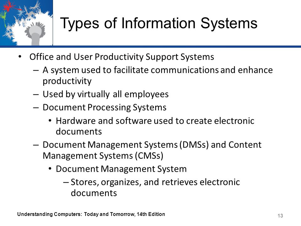 Types of Information Systems Content Management System – DMS that also includes multimedia files, images, and other content Understanding Computers: Today and Tomorrow, 14th Edition 14