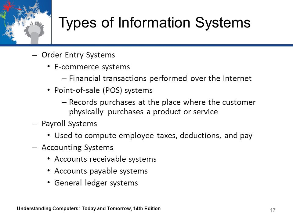 Types of Information Systems Decision Making Support Systems – Help individuals make decisions – Management Information Systems (MISs) Provides decision makers with regular, routine, and timely information that is used to make decisions Usually provides information in the form of computer- generated reports – Detailed, summary, exception Much of the time, this information is generated from data obtained from transaction processing Most frequently used to make moderately structured, middle-management decisions Understanding Computers: Today and Tomorrow, 14th Edition 18