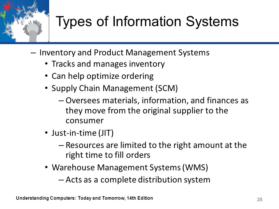 Types of Information Systems Product Lifecycle Management (PLM) – Organizes and correlates all information about a product from design to retirement Understanding Computers: Today and Tomorrow, 14th Edition 26