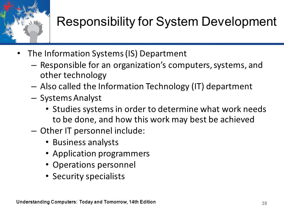 Responsibility for System Development Understanding Computers: Today and Tomorrow, 14th Edition 40