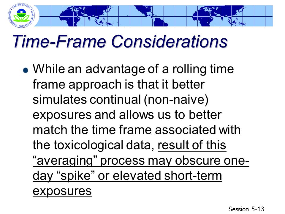 Session 5-13 Time-Frame Considerations While an advantage of a rolling time frame approach is that it better simulates continual (non-naive) exposures