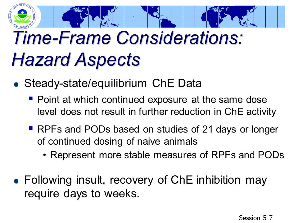 Session 5-8 Time-Frame Considerations: Exposure Aspects Human exposure patterns to multiple OP pesticides may be single-day(spike) or short term exposures through food, drinking water, and residential uses superimposed upon more or less continuous exposures through food  biomonitoring data from NHANES  most animal data available to OPP are developed using laboratory animals that were naïve in their exposures to OPs Continuous exposures through food might resemble multi- day dosing used in determining BMD 10
