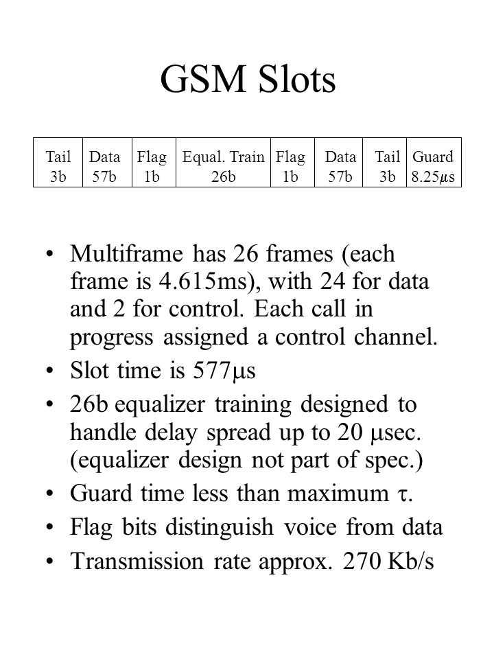 GSM Slots Multiframe has 26 frames (each frame is 4.615ms), with 24 for data and 2 for control.