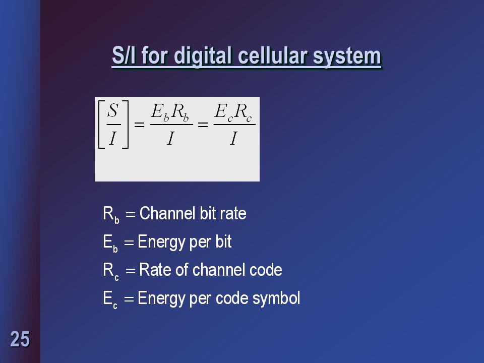 25 S/I for digital cellular system