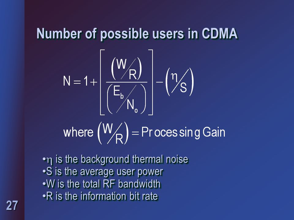 27 Number of possible users in CDMA  is the background thermal noise  is the background thermal noise S is the average user power S is the average u