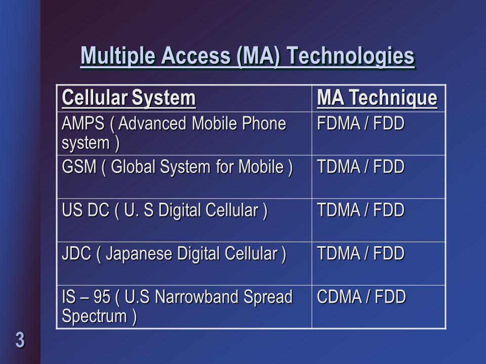 3 Multiple Access (MA) Technologies Multiple Access (MA) Technologies Cellular System MA Technique AMPS ( Advanced Mobile Phone system ) FDMA / FDD GSM ( Global System for Mobile ) TDMA / FDD US DC ( U.