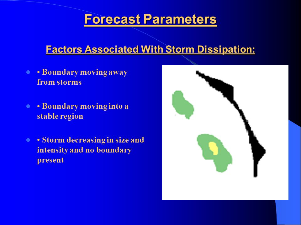 Forecast Parameters Factors Associated With Storm Growth: Boundary motion = storm motion Convergence strong and deep Erect updrafts Merging of storms Boundary intercepting cumulus and storms