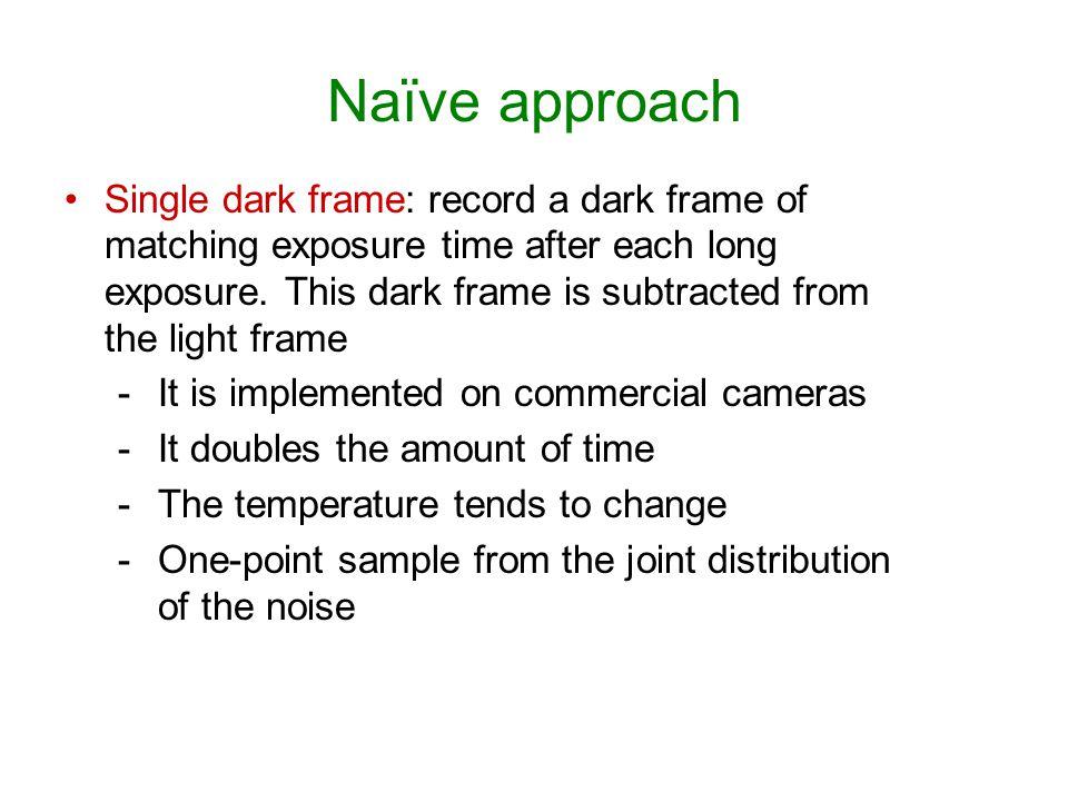 Naïve approach Single dark frame: record a dark frame of matching exposure time after each long exposure. This dark frame is subtracted from the light