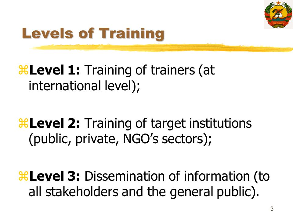3 Levels of Training zLevel 1: Training of trainers (at international level); zLevel 2: Training of target institutions (public, private, NGO's sector