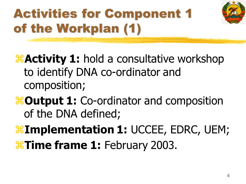4 Activities for Component 1 of the Workplan (1) zActivity 1: hold a consultative workshop to identify DNA co-ordinator and composition; zOutput 1: Co