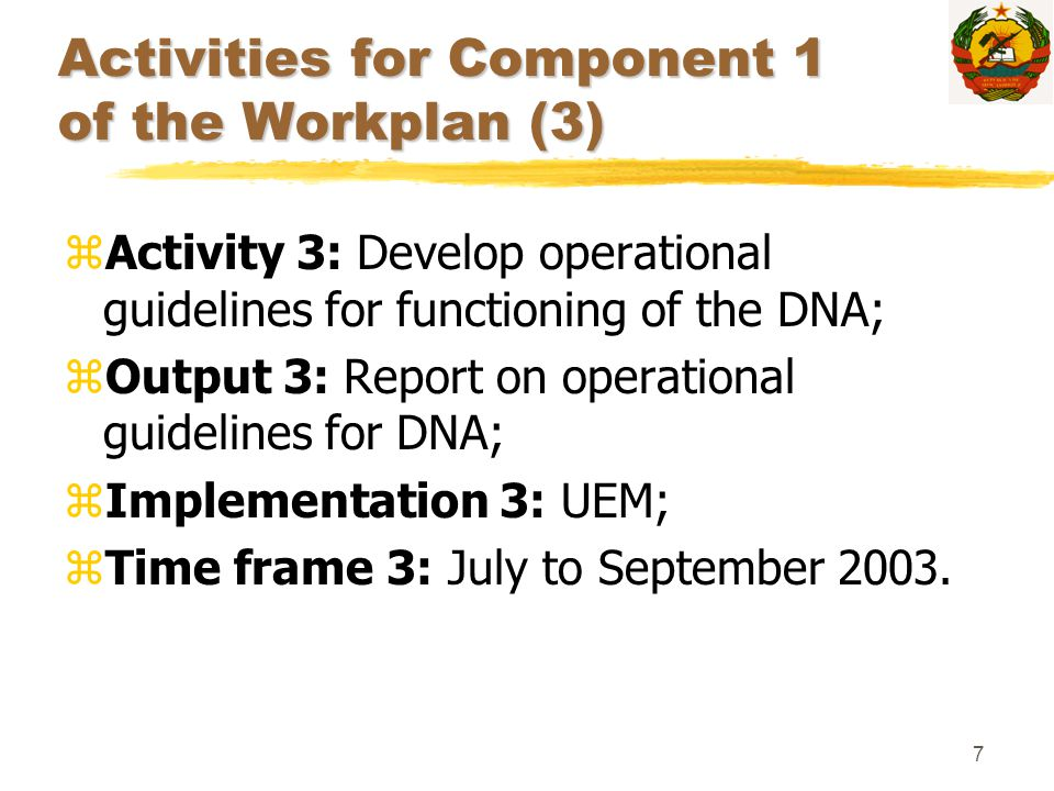 7 Activities for Component 1 of the Workplan (3) zActivity 3: Develop operational guidelines for functioning of the DNA; zOutput 3: Report on operatio