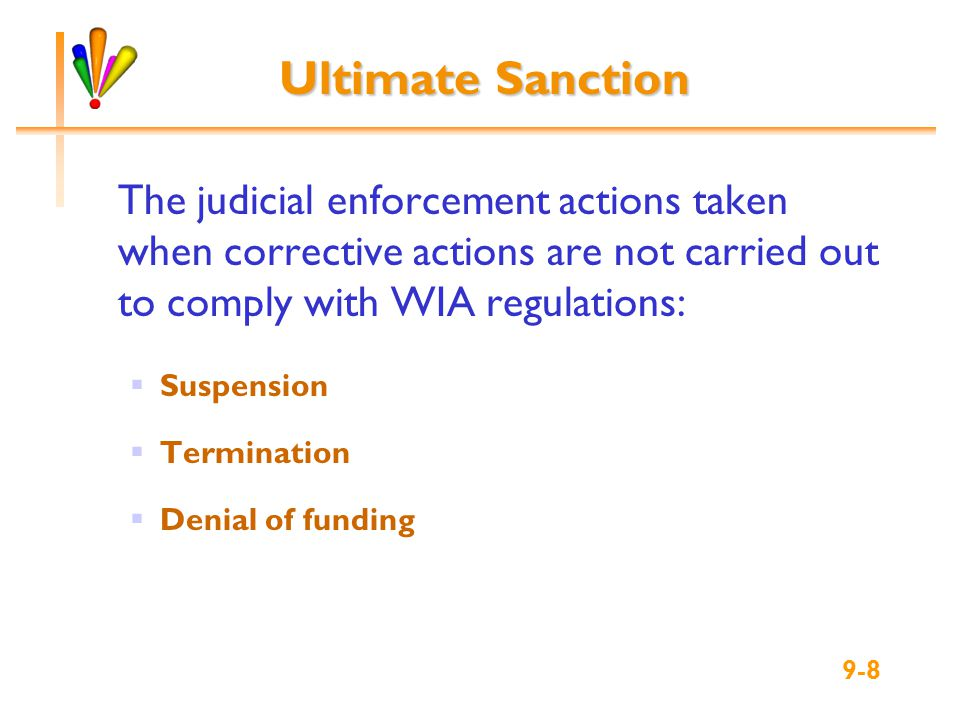 9-9 Sanction Procedures List measures taken to achieve voluntary compliance Explain that the severity of the noncompliance will determine the sanctions imposed Provide listing of potential sanctions Detail the notification process, including respondent rights, time frames, and hearing Identify responsible individuals, with their roles and responsibilities