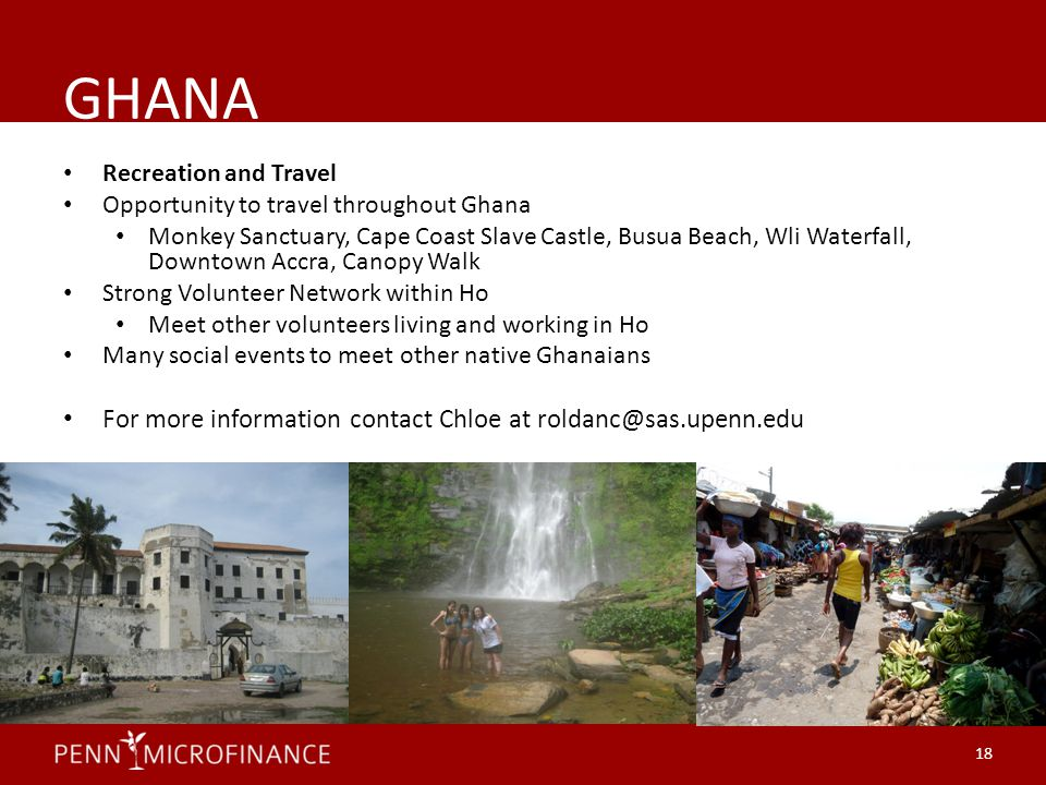 GHANA Recreation and Travel Opportunity to travel throughout Ghana Monkey Sanctuary, Cape Coast Slave Castle, Busua Beach, Wli Waterfall, Downtown Acc