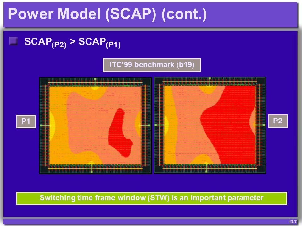 12/7 Power Model (SCAP) (cont.) SCAP (P2) > SCAP (P1) P1 P2 Switching time frame window (STW) is an important parameter ITC'99 benchmark (b19)