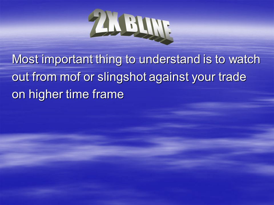 Most important thing to understand is to watch out from mof or slingshot against your trade on higher time frame