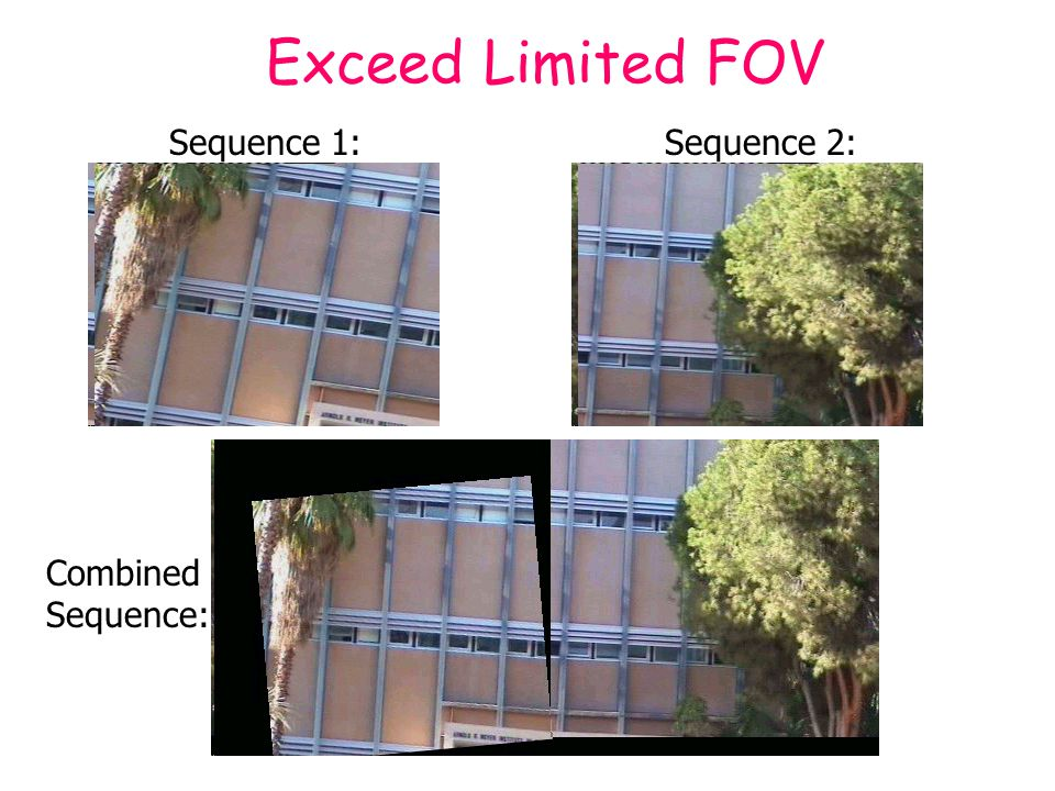 Sequence 1: Sequence 2: Exceed Limited FOV Combined Sequence:
