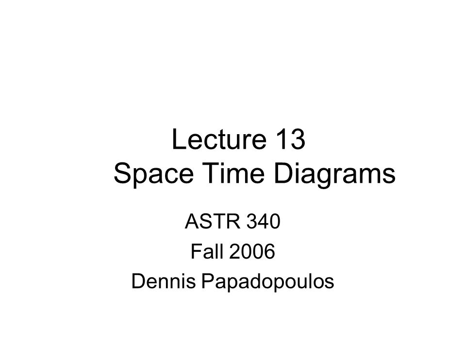 Lecture 13 Space Time Diagrams ASTR 340 Fall 2006 Dennis Papadopoulos
