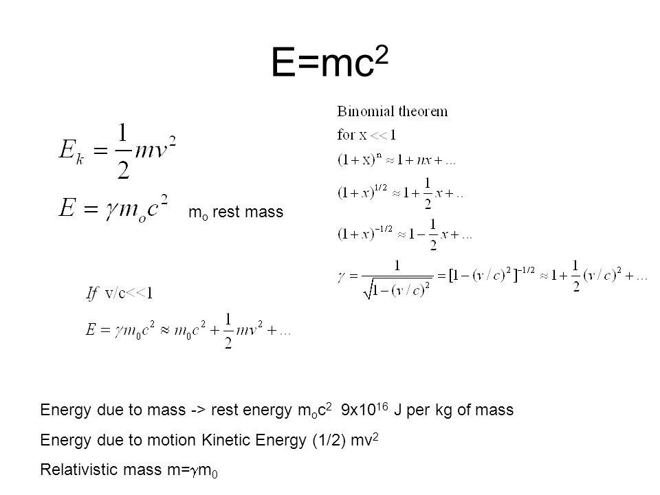 E=mc 2 m o rest mass Energy due to mass -> rest energy m o c 2 9x10 16 J per kg of mass Energy due to motion Kinetic Energy (1/2) mv 2 Relativistic mass m=  m 0