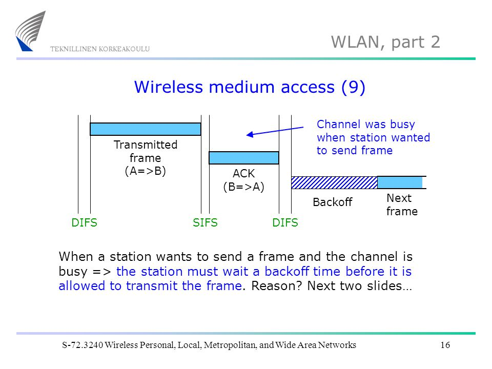 WLAN, part 2 S-72.3240 Wireless Personal, Local, Metropolitan, and Wide Area Networks16 Wireless medium access (9) DIFSSIFSDIFS ACK (B=>A) Transmitted