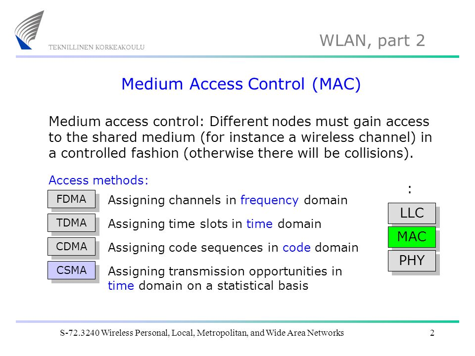 WLAN, part 2 S-72.3240 Wireless Personal, Local, Metropolitan, and Wide Area Networks13 Wireless medium access (7) DIFSSIFS Transmitted frame NAV Virtual carrier sensing using NAV is important in situations where the channel should be reserved for a longer time (RTS/CTS usage, fragmentation, etc.).