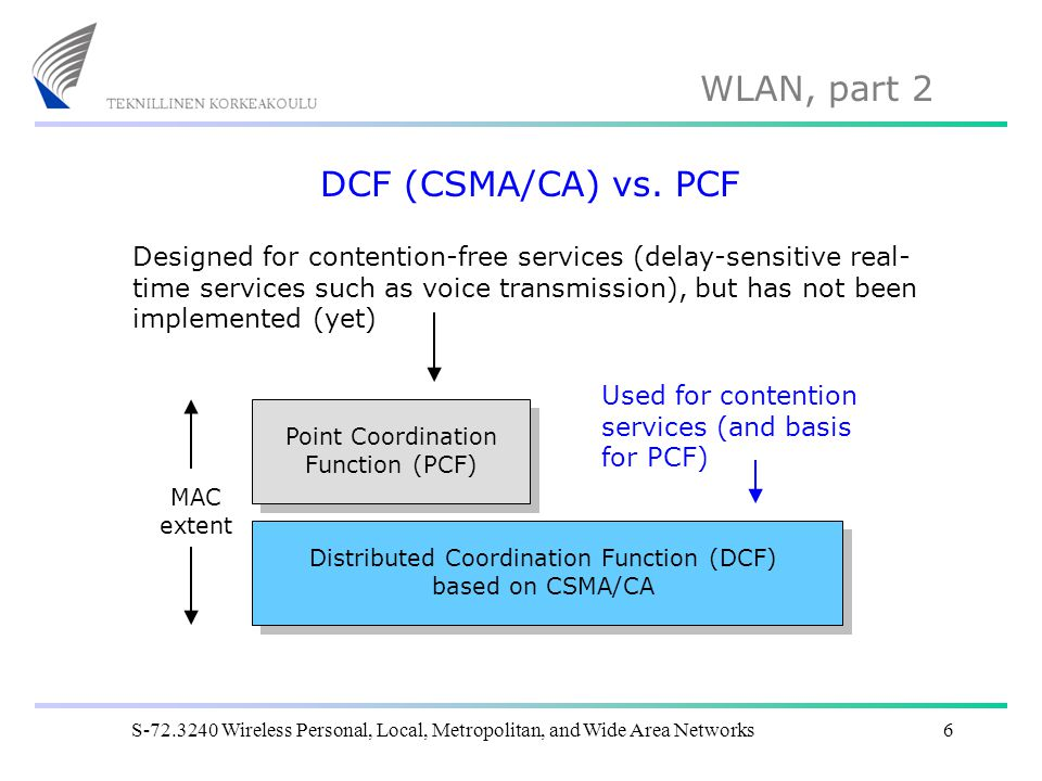 WLAN, part 2 S-72.3240 Wireless Personal, Local, Metropolitan, and Wide Area Networks6 DCF (CSMA/CA) vs. PCF Distributed Coordination Function (DCF) b