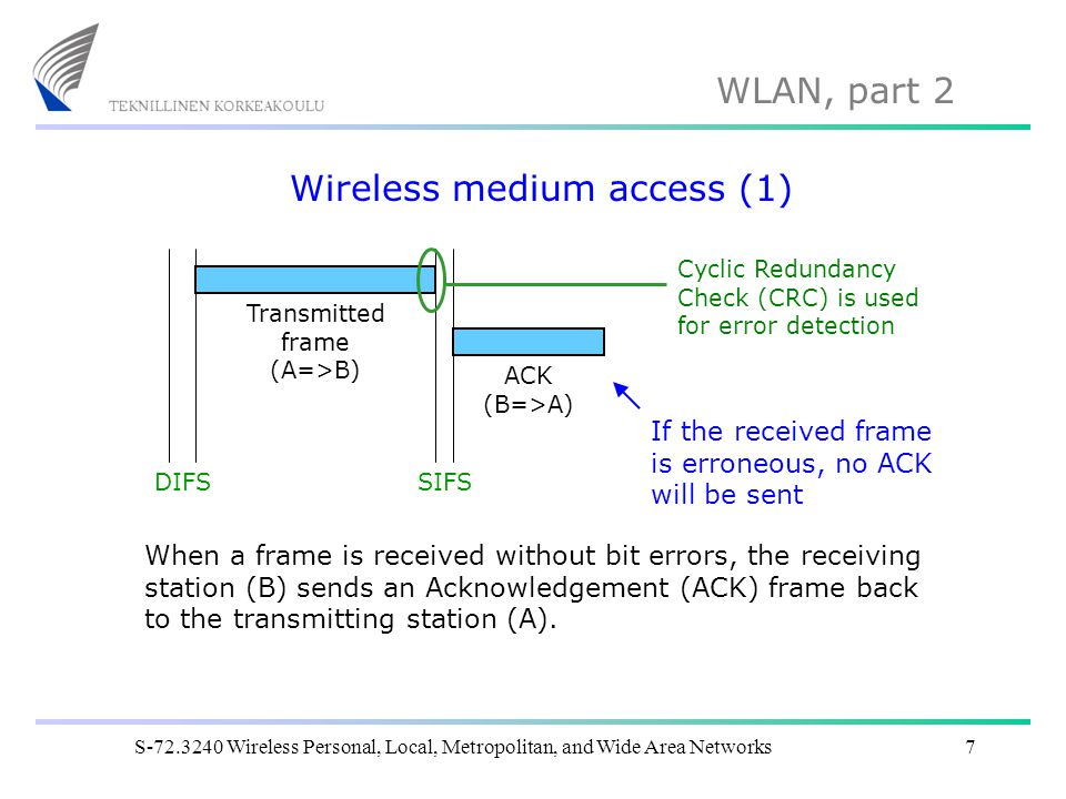 WLAN, part 2 S-72.3240 Wireless Personal, Local, Metropolitan, and Wide Area Networks8 Wireless medium access (2) DIFSSIFSDIFS ACK (B=>A) Transmitted frame (A=>B) During the transmission sequence (Frame + SIFS + ACK) the medium (radio channel) is reserved.