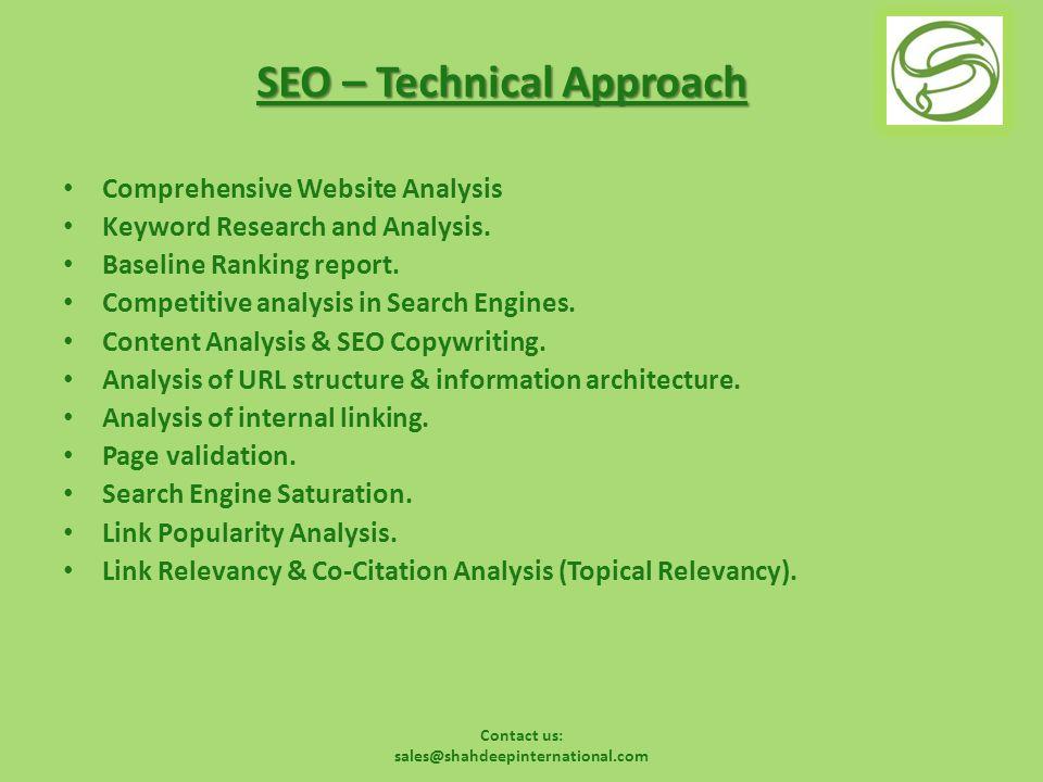 Contact us: sales@shahdeepinternational.com Measuring SEO success Keyword Ranking.