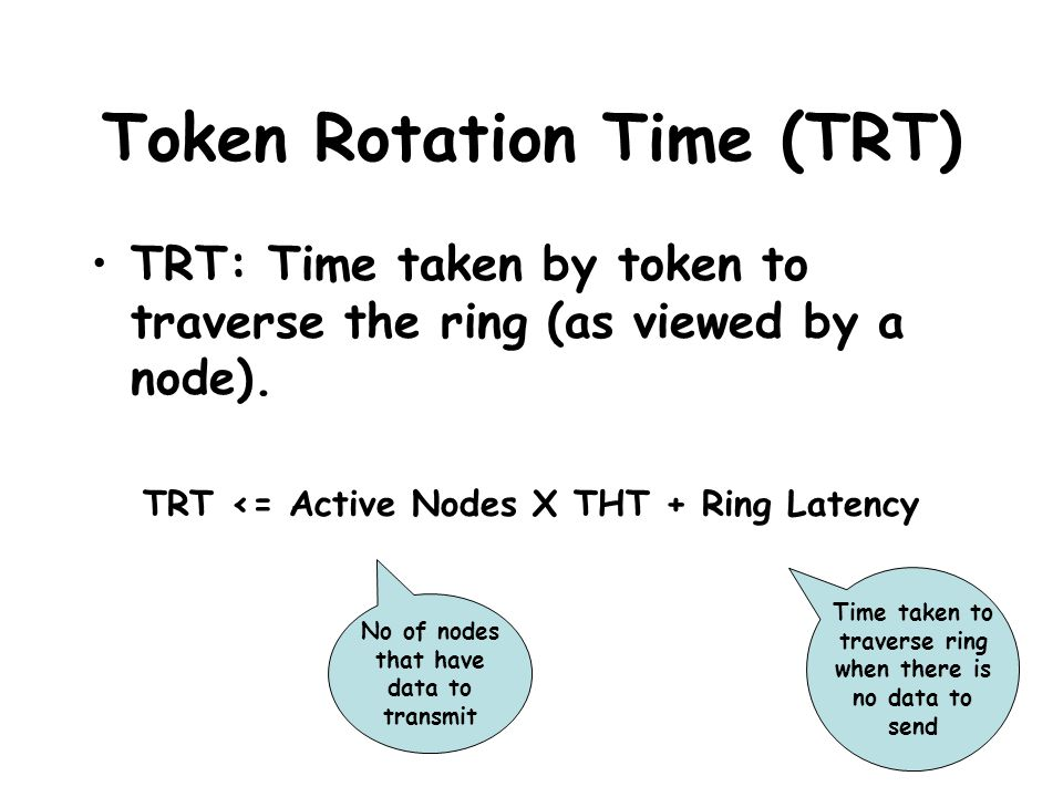 Token Rotation Time (TRT) TRT: Time taken by token to traverse the ring (as viewed by a node). TRT <= Active Nodes X THT + Ring Latency No of nodes th