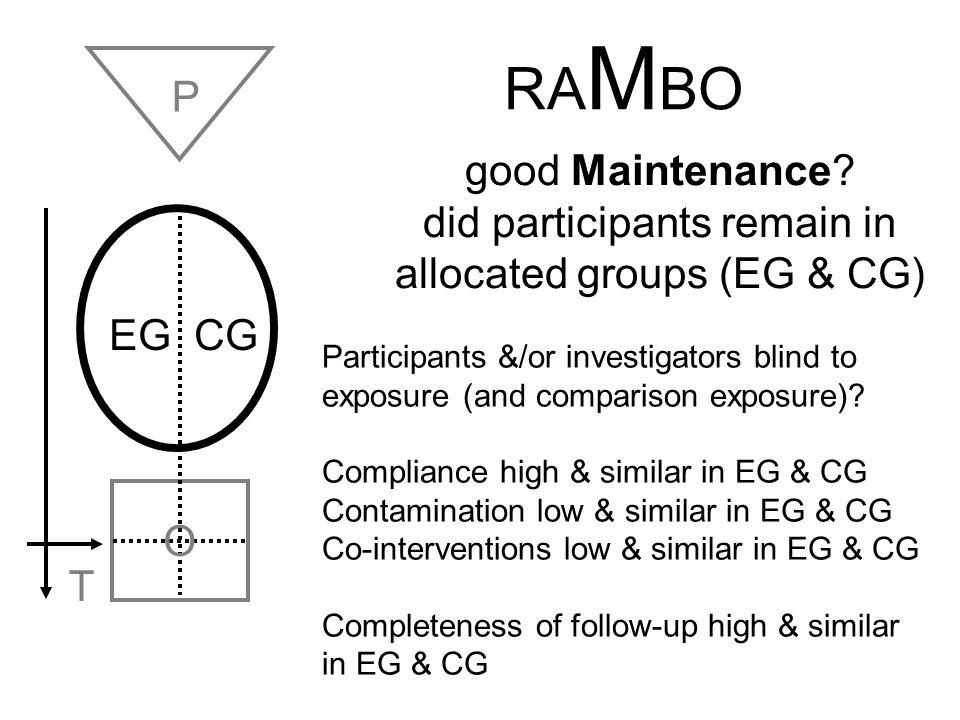 EG CG O T P RCT: Allocate randomly by investigators (e.g drugs) EG CG O T P Cohort: Allocate by measurement (e.g.