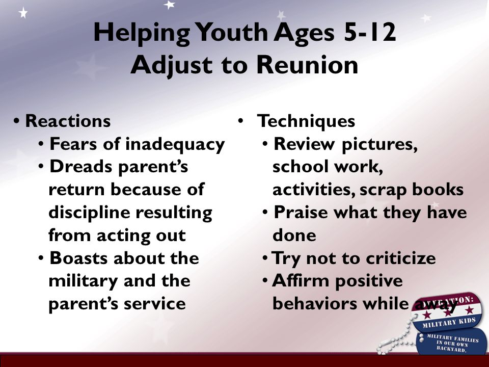 Reactions Fears of inadequacy Dreads parent's return because of discipline resulting from acting out Boasts about the military and the parent's service Techniques Review pictures, school work, activities, scrap books Praise what they have done Try not to criticize Affirm positive behaviors while away Helping Youth Ages 5-12 Adjust to Reunion