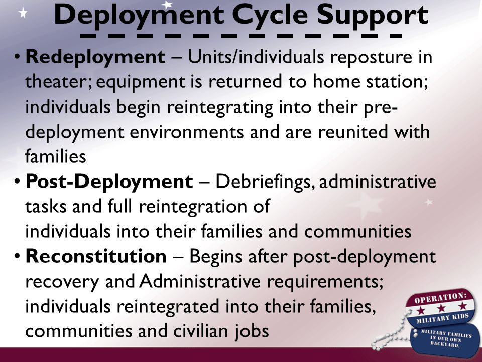 Redeployment – Units/individuals reposture in theater; equipment is returned to home station; individuals begin reintegrating into their pre- deployment environments and are reunited with families Post-Deployment – Debriefings, administrative tasks and full reintegration of individuals into their families and communities Reconstitution – Begins after post-deployment recovery and Administrative requirements; individuals reintegrated into their families, communities and civilian jobs Deployment Cycle Support