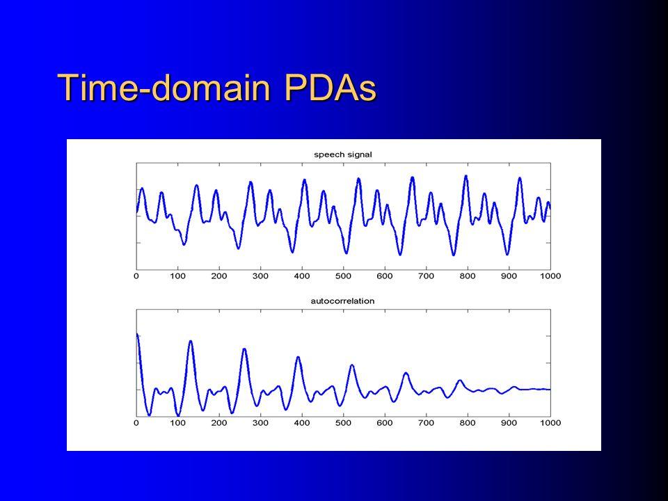Time-domain algorithms Frequency-domain algorithms Time-frequency domain algorithms Categories of Pitch Determination Algorithms (PDAs)