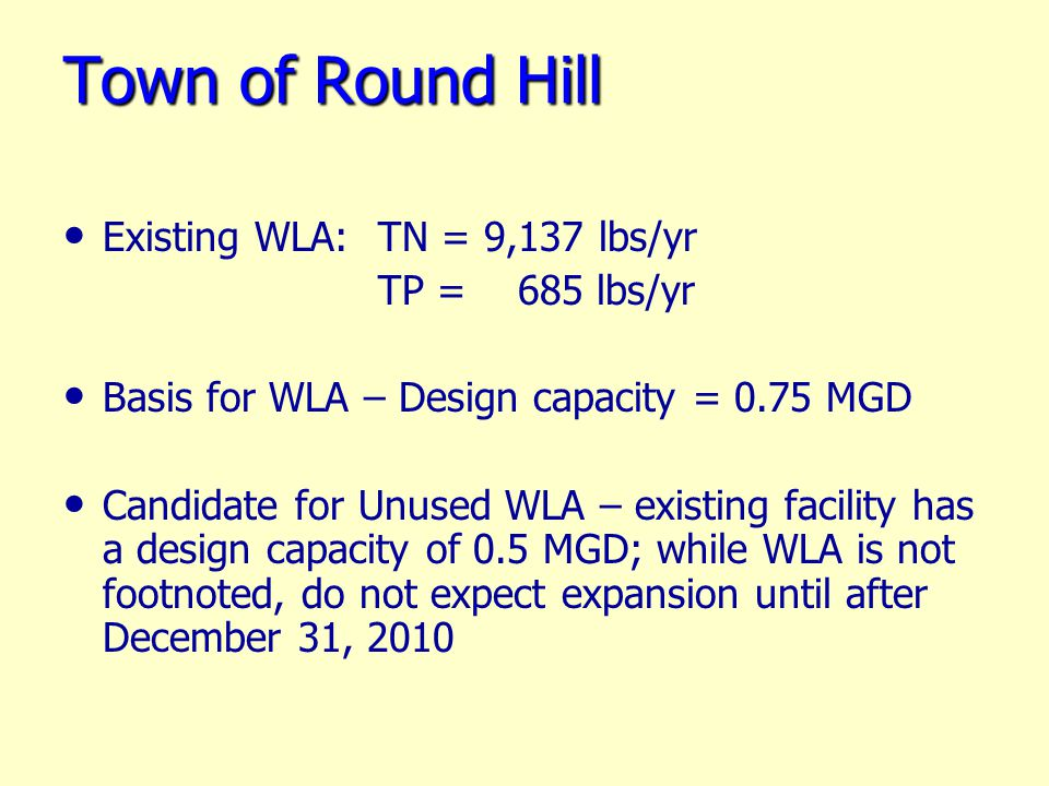 Town of Round Hill Existing WLA: TN = 9,137 lbs/yr TP = 685 lbs/yr Basis for WLA – Design capacity = 0.75 MGD Candidate for Unused WLA – existing facility has a design capacity of 0.5 MGD; while WLA is not footnoted, do not expect expansion until after December 31, 2010