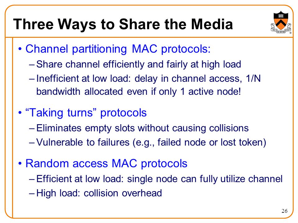 26 Three Ways to Share the Media Channel partitioning MAC protocols: –Share channel efficiently and fairly at high load –Inefficient at low load: delay in channel access, 1/N bandwidth allocated even if only 1 active node.