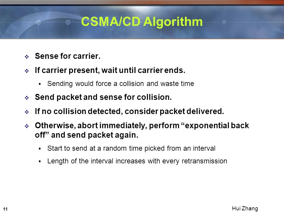 11 Hui Zhang CSMA/CD Algorithm  Sense for carrier.