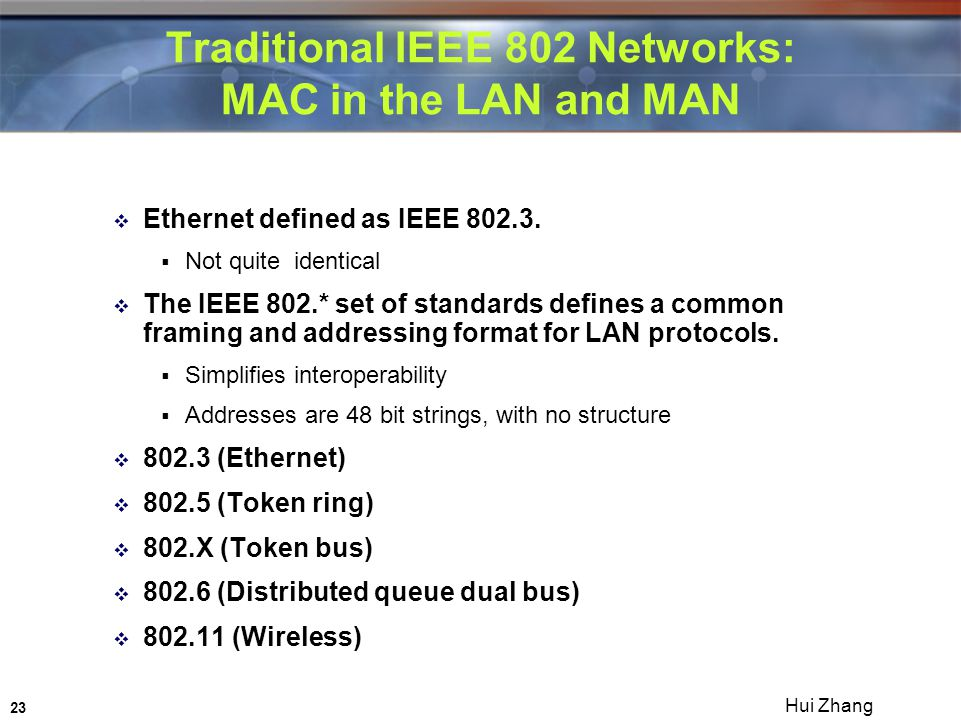 23 Hui Zhang Traditional IEEE 802 Networks: MAC in the LAN and MAN  Ethernet defined as IEEE 802.3.