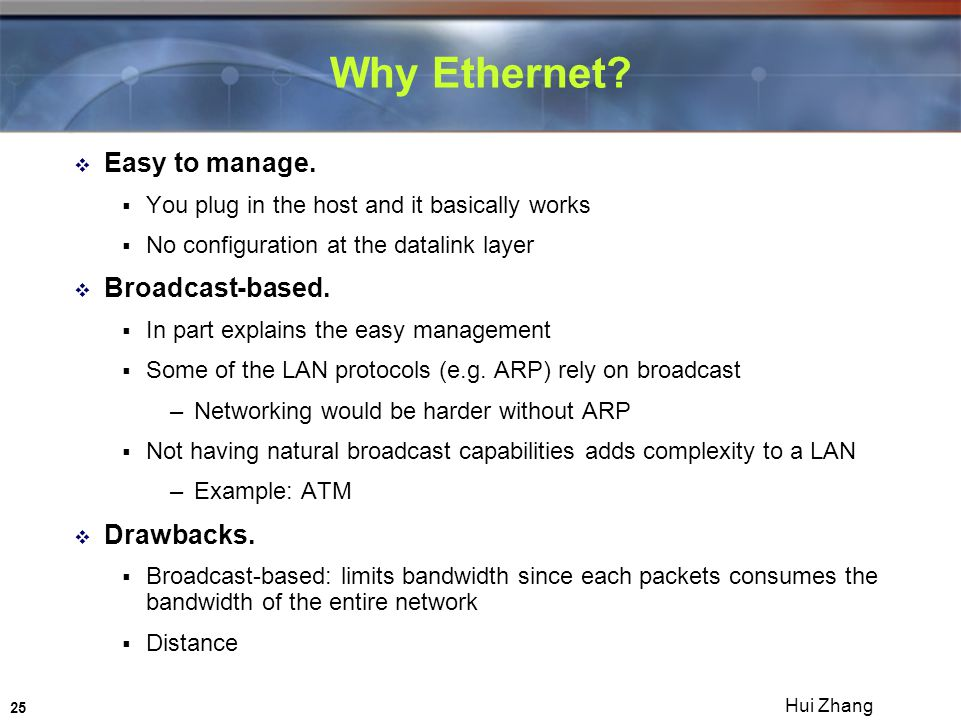 25 Hui Zhang Why Ethernet.  Easy to manage.
